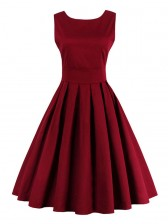 Elegant 1950's Vintage Red Cocktail Party Dress