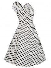 Classical 1950's Vintage Polka Dot Print Casual Dress White