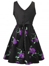 Women's Vintage Sleeveless Floral Swing Dress With Belt Black Purple