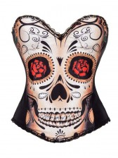 Sexy Black Skull Day of The Dead Halloween Costume Corset