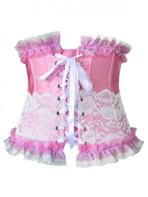 Fashion Sexy Pink Artificial Silk Lace Ruffles Underbust Corset