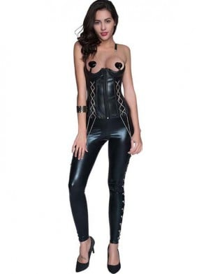 Fashion Steampunk Black Faux Leather Zipper Waist Training Corset with Leggings Set