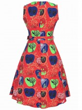 Women's Vintage Sleeveless Tea Midi Halloween Dress With Belt Multi