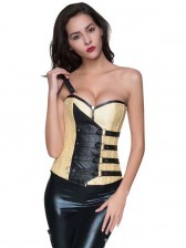 Fashion Steampunk Yellow Brocade One Shoulder Zipper Outerwear Corset