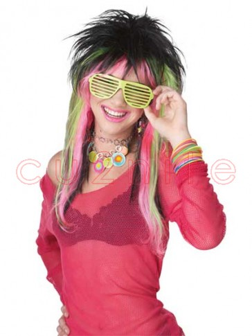 Pink Green Black Rave Candy Wig