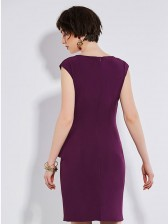 Women's Fashion Solid Color V Neck Cap Sleeve Ruffled Bodycon Dress