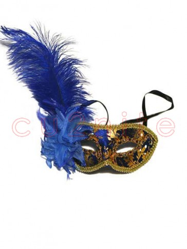 Blue and Gold Ostrich Feather Venetian Masquerade Mask