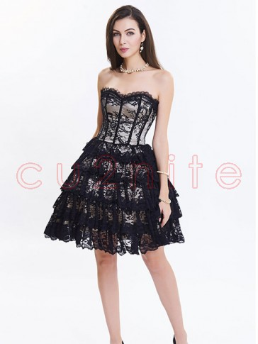 Victorian Elegant Sweetheart Neck Strapless Lace Overlay A-line Corset Dresses