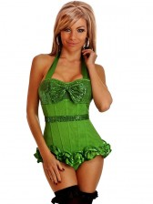Green Sequin Halter Top Corset