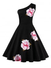Vintage Retro one-shoulder Embroidery Floral Print Cocktail Party Swing Dress