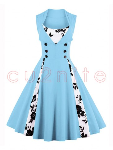 Vintage Rockabilly Floral Print Sleeveless Casual Cocktail Dress Light Blue