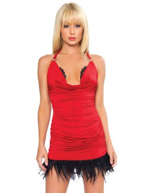 Cowl Neck Halter Dress With Feather Trim - Red