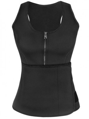 Latex Black Waist Training Vest Corset with Girdles
