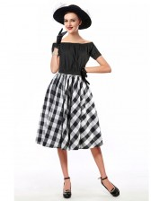 Sexy Black Short Sleeve Off Shoulder Crop Top and Plaid Skirt Set