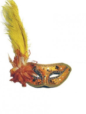 Yellow and Gold Ostrich Feather Venetian Masquerade Mask