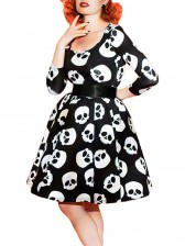 Vintage Women Skull Print Swing Midi Dress