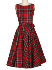 Women' 1950's Vintage Retro Red Plaid Belted A-Line Dress