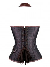 Steel Boned Steampunk Retro Brown Halter Bustier Corset
