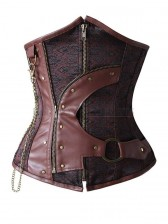 Steampunk Brown Steel Boned Waist Cincher Underbust Corset