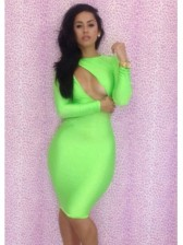 Sexy Long Sleeve Cut Out Dress Green