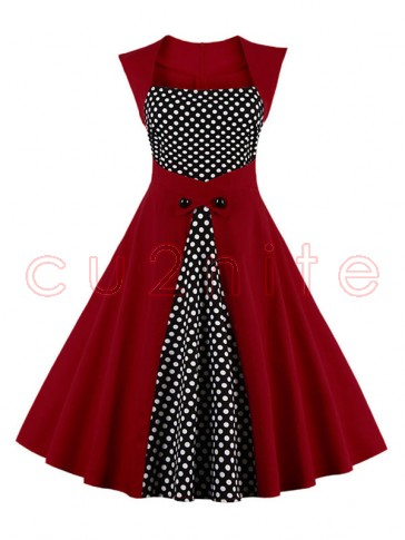 Charming Polka Dot Patchwork Sleeveless Cocktail Party Dress