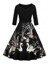 Vintage Retro Floral Print Cocktail Party Casual Swing Dress