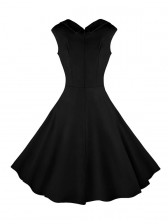 Women's 1950's Vintage Black Cut Out V-Neck Casual Party Cocktail Dress