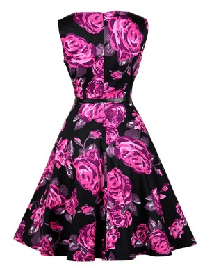 1950's Vintage Rose Print Sleeveless Cocktail Party Valentine's Day Dress with Belt