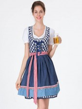 Girl'S Oktoberfest Blue Grid Square Neckline Midi Dress Costume