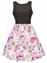 Women's Vintage Sleeveless Floral Swing Dress With Belt Mix Color