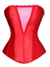 Deep-V Front Brocade Corset Red