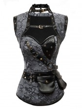 Lace Overlay Steampunk Corset with Jacket