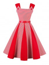 Vintage Striped Splicing Waist Belt Swing Dress