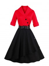 Women Red and Black Half Sleeves A-Line Asymmetrical Swing Dress