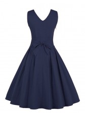 Women's 1950's Vintage Deep V Casual Party Cocktail Dress Dark Blue