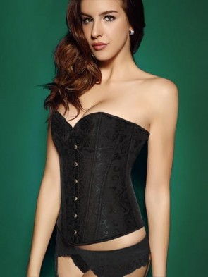 Elegant Black Brocade Corset - Steel Boned