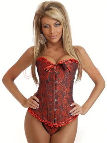 Black & Red Brocade Corset