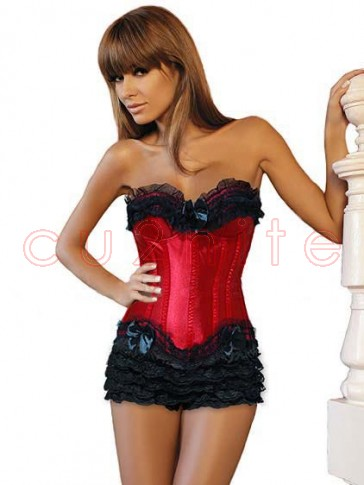 Red Burlesque Corset with Modesty Panel