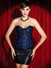 Burlesque Style Lace Overlay Corset - Blue
