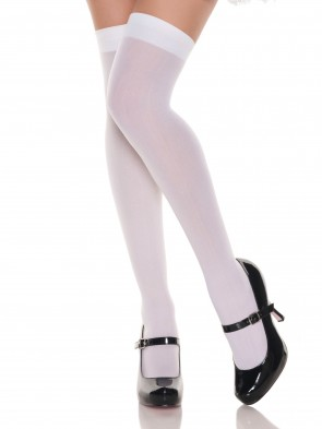 White Opaque Thigh Highs