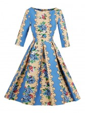 Women's 50s Vintage Floral Print 3/4 Length Sleeve Retro Party Cocktail Swing Dress
