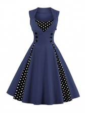 Vintage Rockabilly Polka Dot Print Sleeveless Casual Cocktail Party Dress Dark Blue