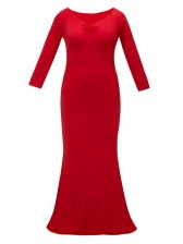 Sexy V Neck Long Sleeve Evening Party Fishtail Plus Size Maxi Dress Red