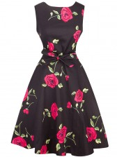 Valentines Vintage Floral Print Sleeveless Rockabilly Cocktail Party Dress Black