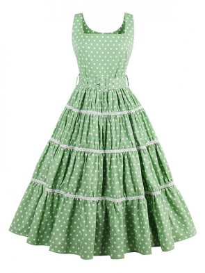 Hot Selling Vintage Square Neck Thick Straps Polka Dot Pleated Swing Dress