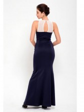 Gorgeous Dark Blue Lace Bodycon Fishtail Evening Party Gown