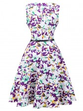 1950's Vintage Floral Print Sleeveless Cocktail Party Swing Dress with Belt