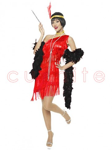 Dazzling Red Flapper Costume With Black Feather Boa