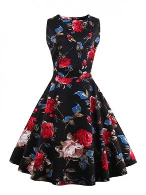 Elegant 1950's Vintage Floral Print Sleeveless Casual Cocktail Party Swing Dress Black