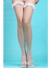 White Ruffle Fishnet Stocking
